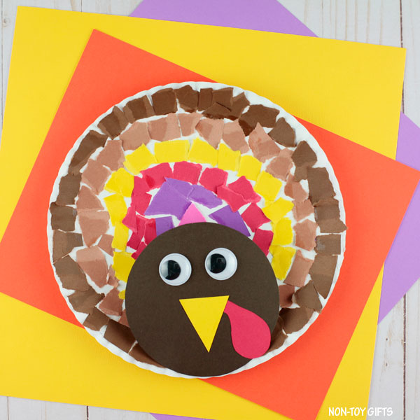 Torn paper turkey craft for kids