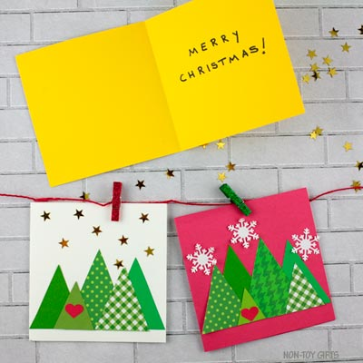 Triangle Christmas Tree Cards Kids Can Make