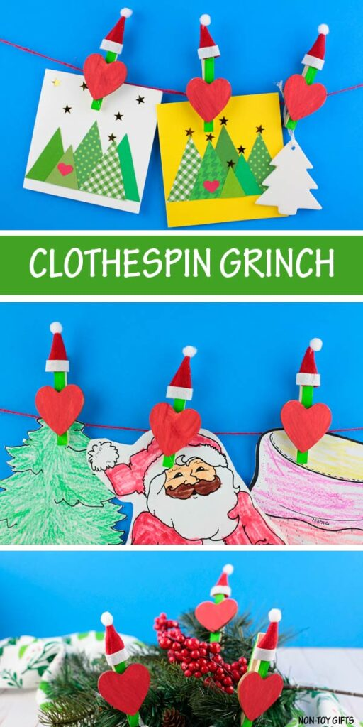 Clothespin Grinch craft for preschoolers, kindergartners and older kids.