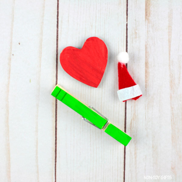 mini wooden heart, Santa hat and clothespin