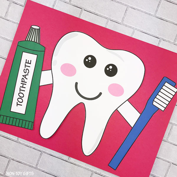 Happy tooth craft template for preschoolers and older kids
