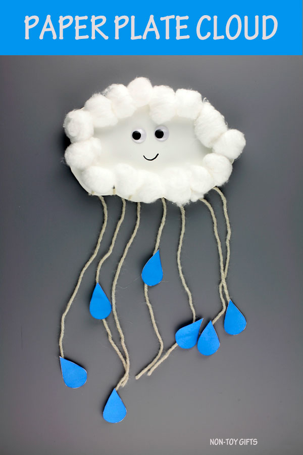 Paper plate cloud craft