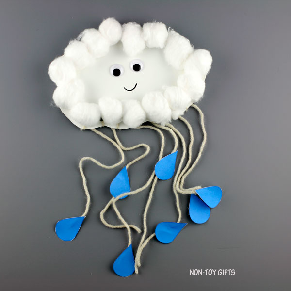 Paper plate weather cloud craft