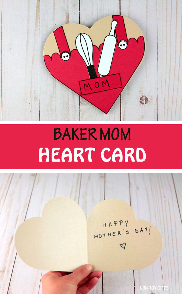 Mother's day baker mom heart card