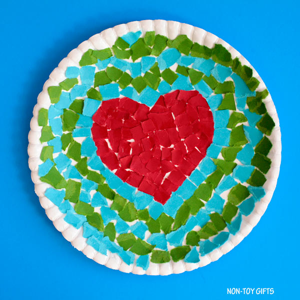Earth Day heart craft for kids
