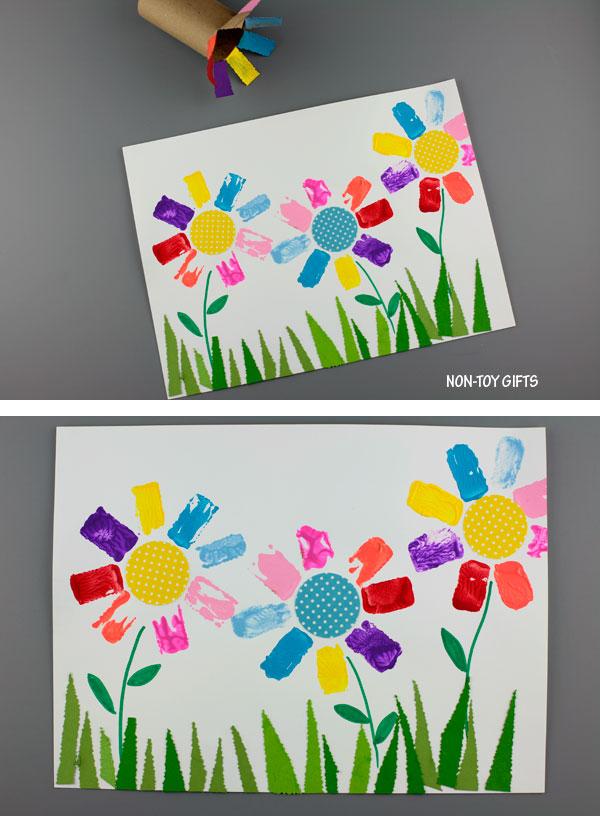 Paper roll flower art for kids