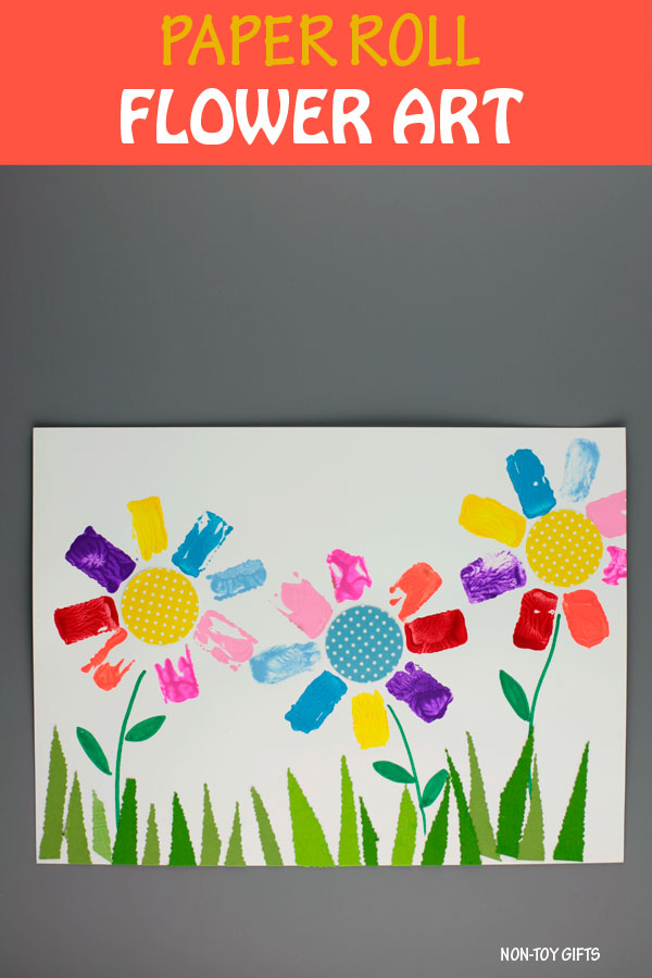 Paper roll flower art for preschoolers and older kids