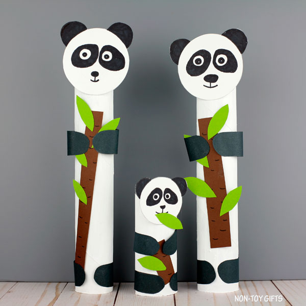 paper roll panda craft for preschoolers and older kids