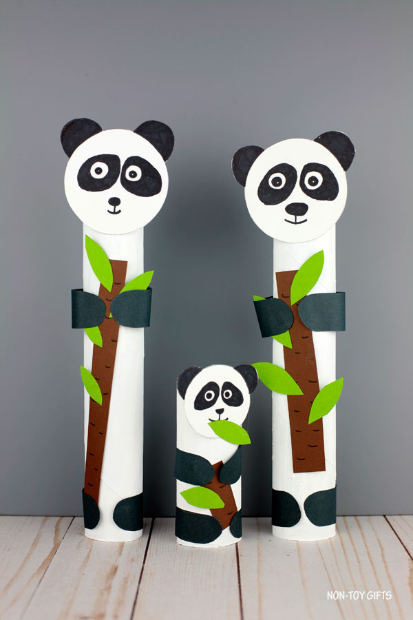 Paper roll panda craft for kids