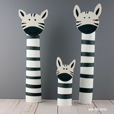 Paper roll zebra craft