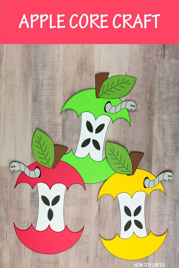 Apple core craft for preschoolers and older kids