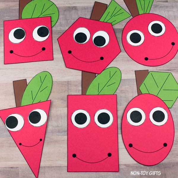 Shape apple craft for preschoolers