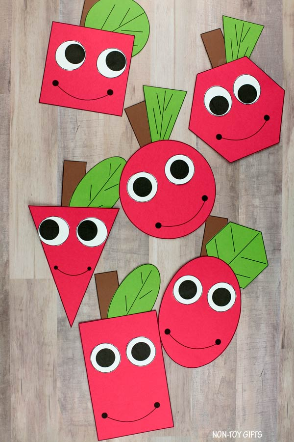 Shape apple math craft and writing activity