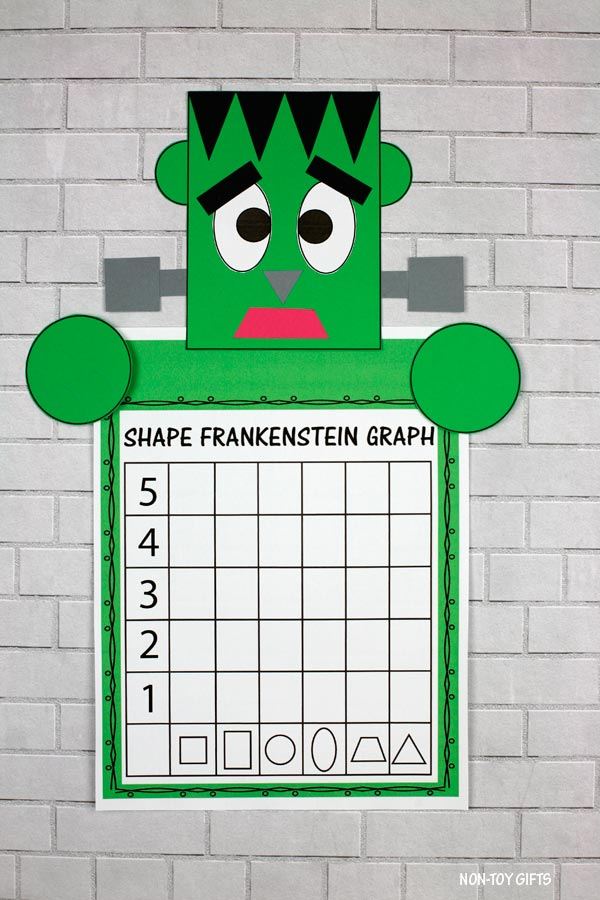 Shape Frankenstein math craft and writing activity