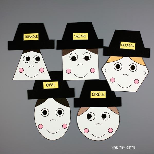 Pilgrim shape matching activity for kids