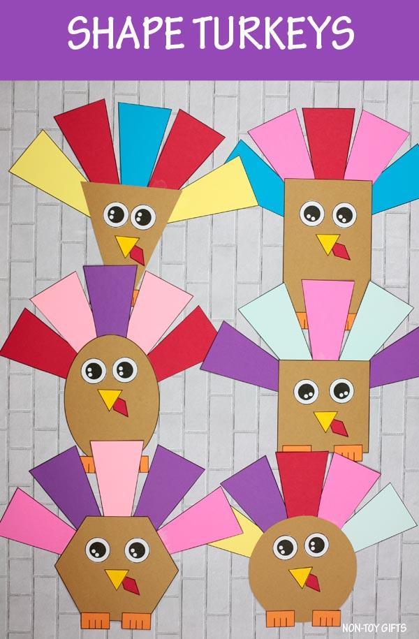 Shape turkey craft for kids
