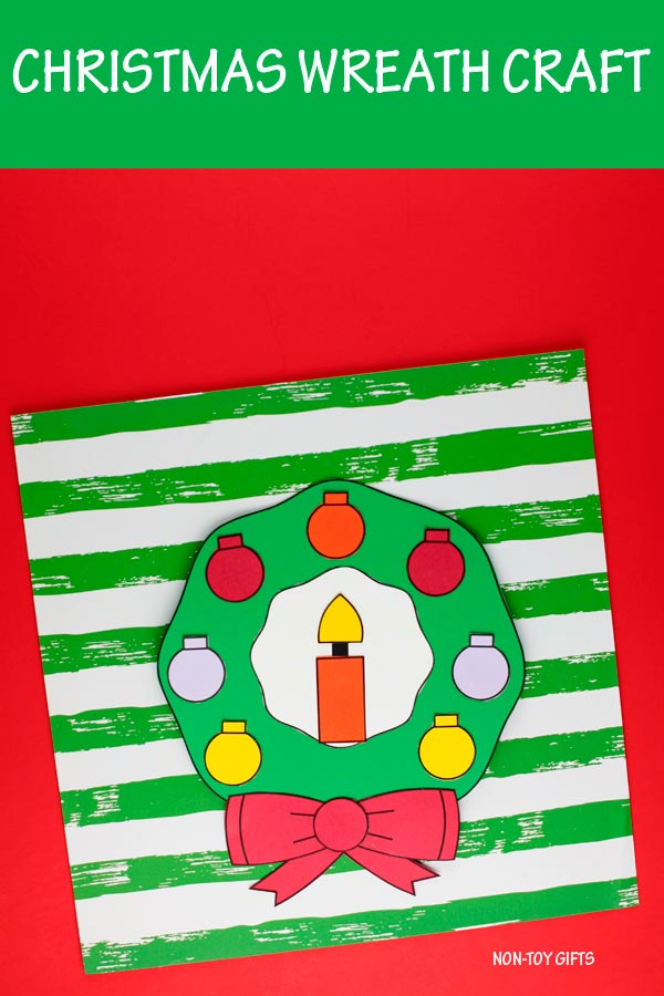 Christmas wreath craft for preschoolers, kindergartners and older kids