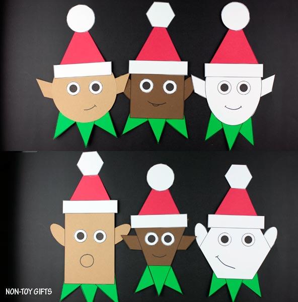 Elf craft - Shape Christmas craft