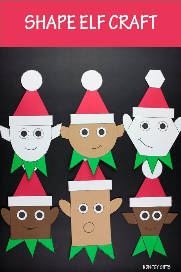 Shape elf craft for kids to make this Christmas