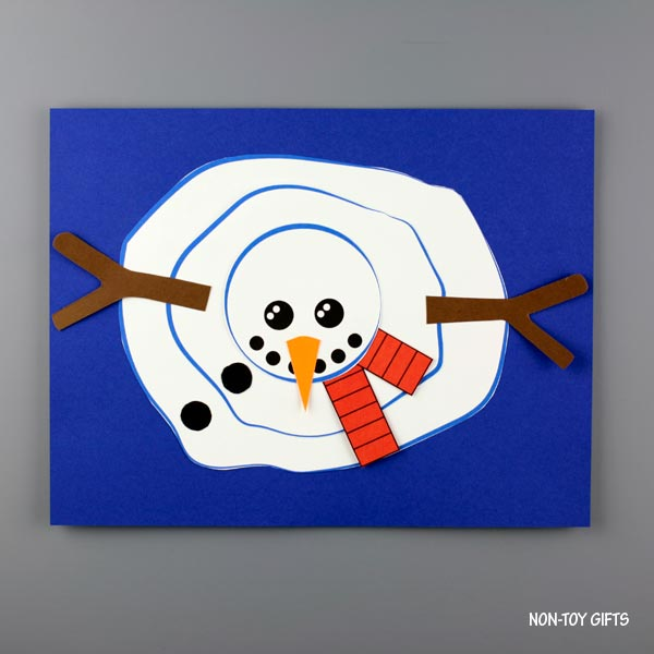 melted snowman craft for kids to make this winter