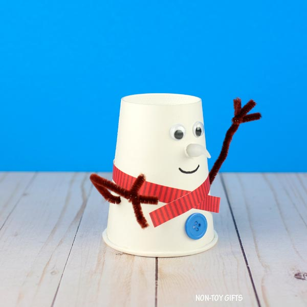 snowman paper cup craft for kids to make this winter