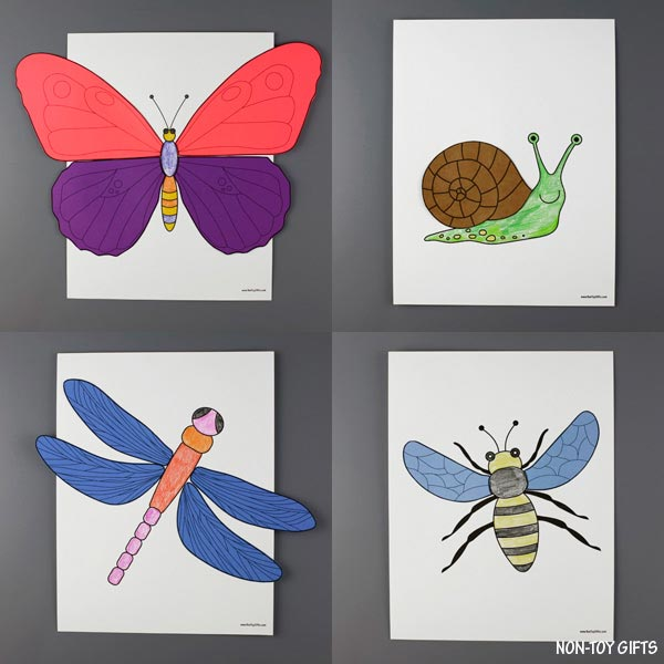 Insects color and craft for preschoolers, kindergartners and older kids