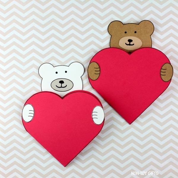 Valentine's Day bear heart card