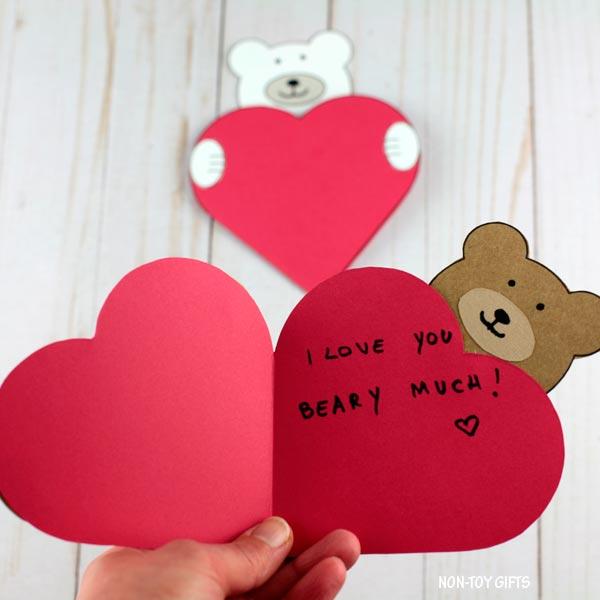 DIY Valentine's Day bear heart card for kids
