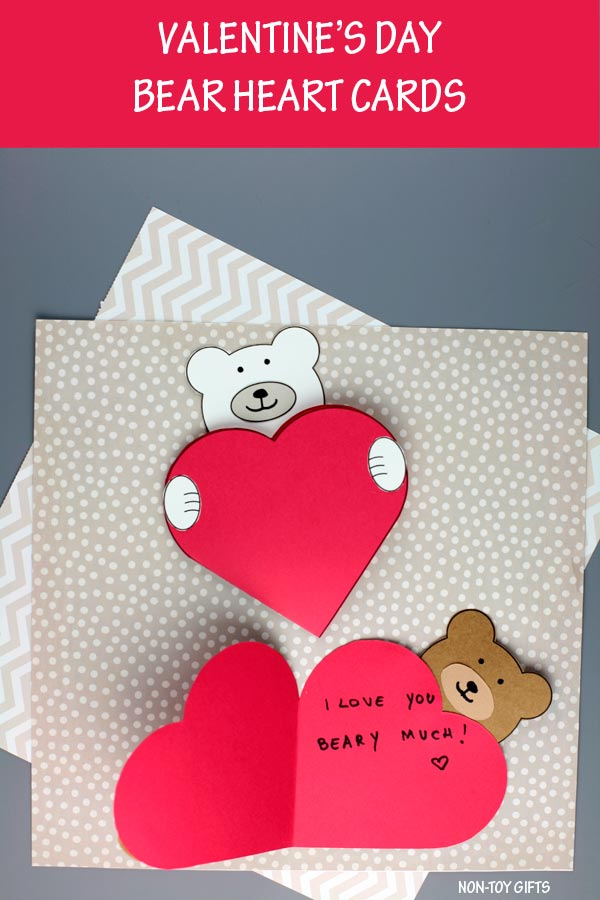 Bear heart card for Valentine's Day