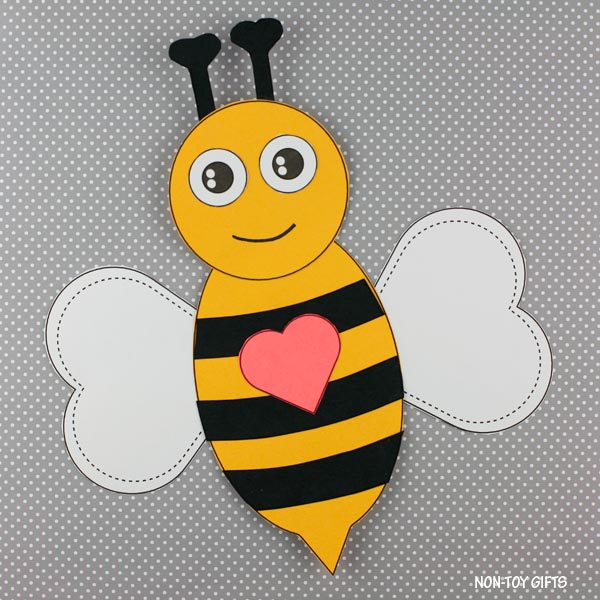 Easy Valentine's Day bee craft for kids