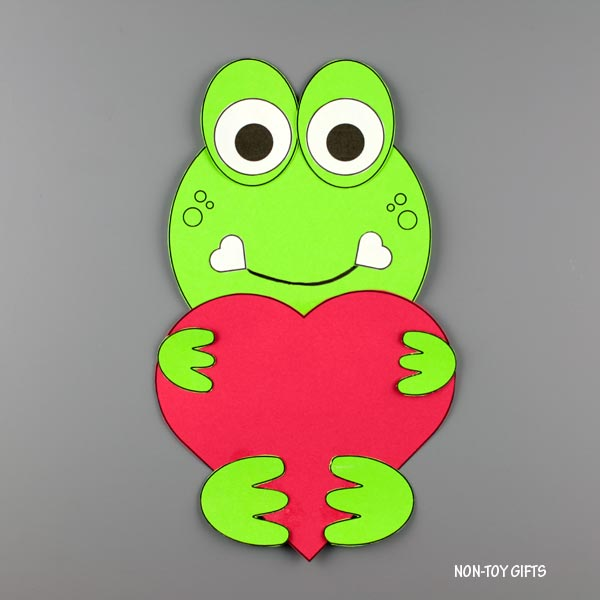 Valentine's Day heart animal craft: frog