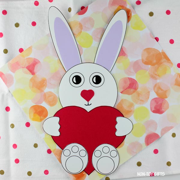 Valentine's Day heart bunny craft for kids