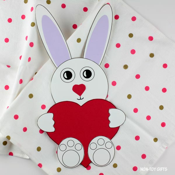 Paper Valentine's Day heart bunny craft for kids
