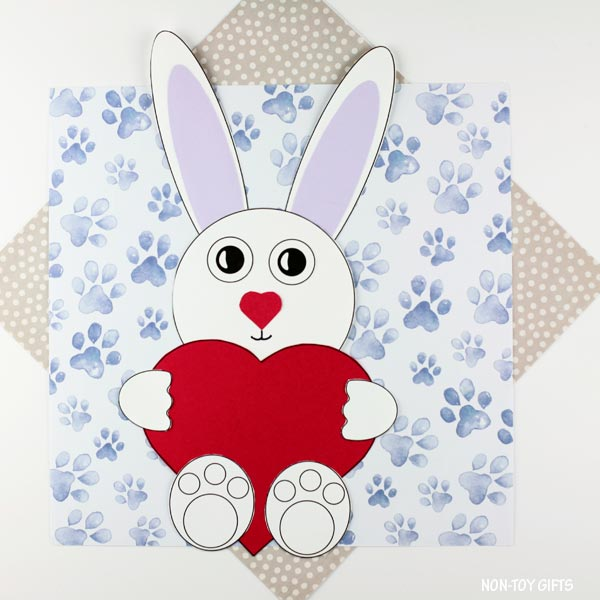 Easy paper Valentine's Day heart bunny craft