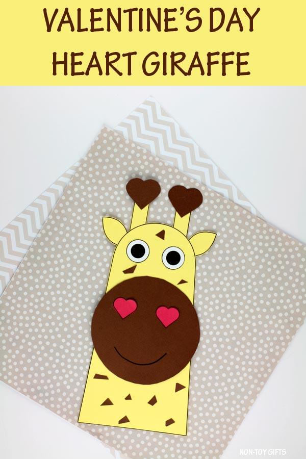 Valentine's Day heart giraffe craft for kids