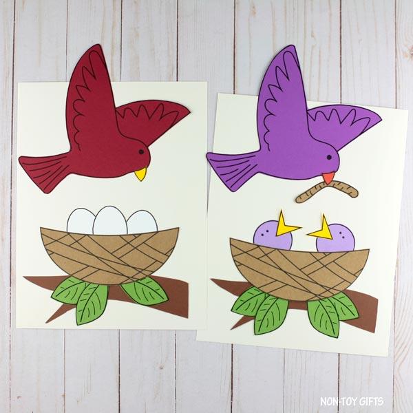 Easy paper bird nest craft