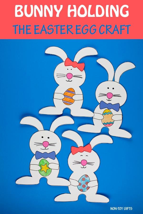 Bunny holding Easter egg craft for preschoolers and older kids