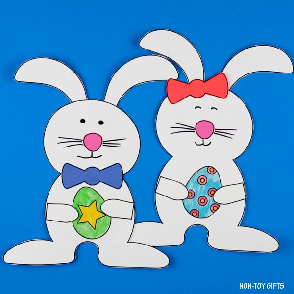 Boy and girl bunny with Easter egg