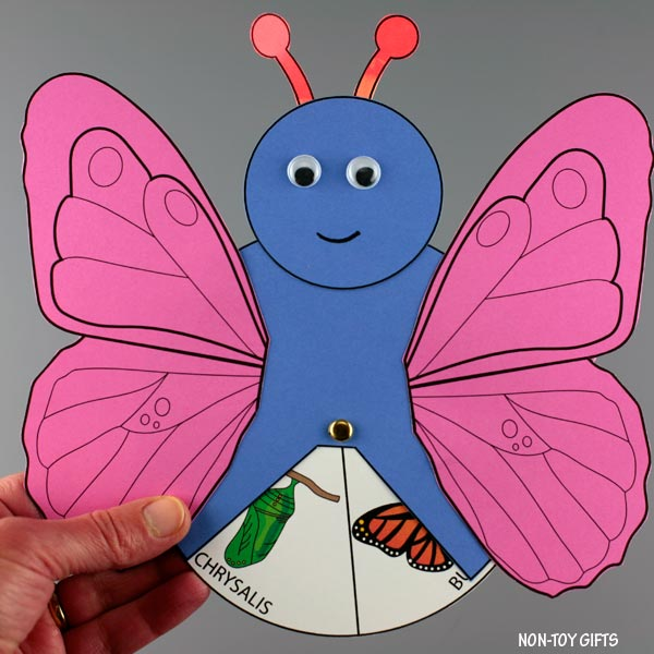Butterfly life cycle spinner wheel craft for kids