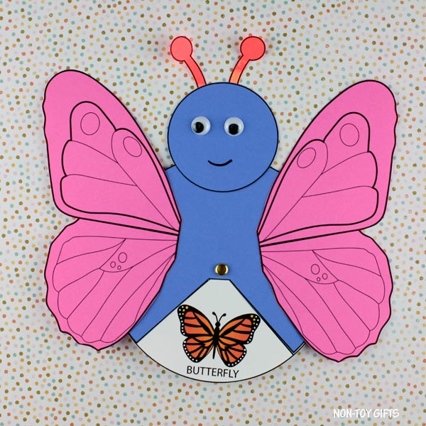 Butterfly life cycle spinner craft for preschoolers and older kids