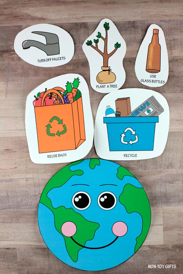 Happy Earth sad Earth sorting activity