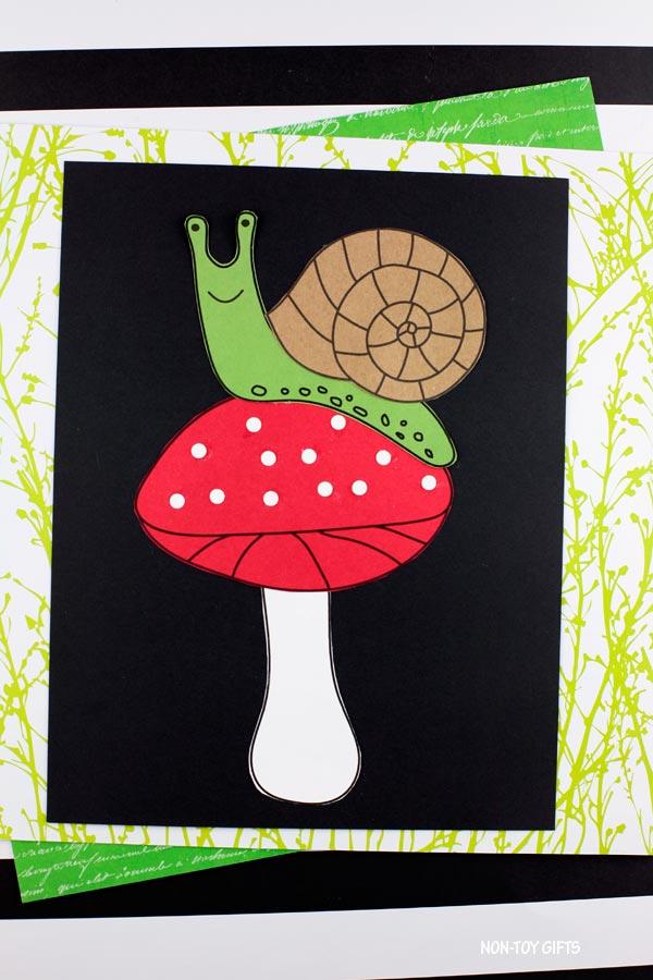 Spring snail on mushroom craft