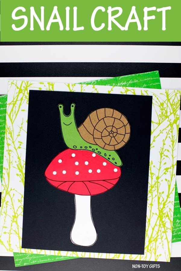 Snail on mushroom craft for kids