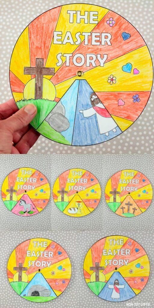 The Easter story wheel spinner craft for kids