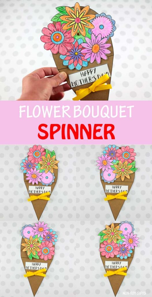 Flower bouquet spinner craft for kids to make for mom for Mother's Day