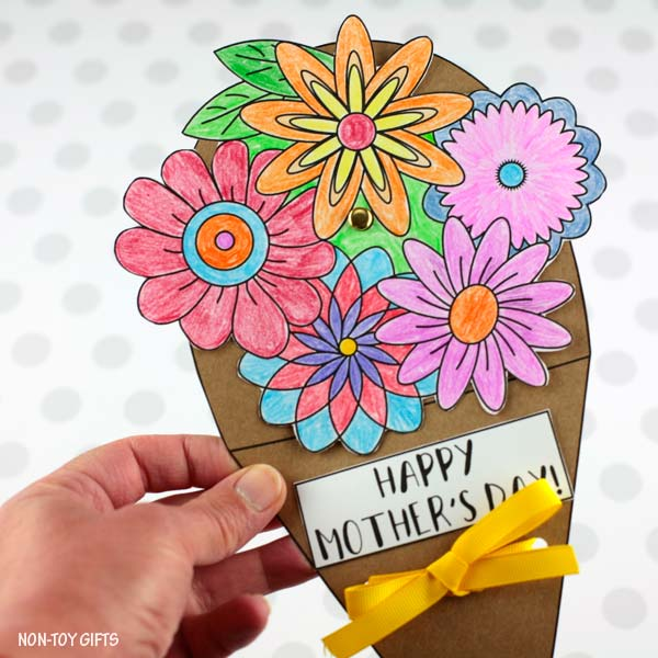 Mother's Day flower bouquet spinner craft for kids