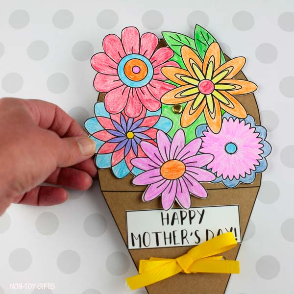 Paper Mother's Day flower bouquet spinner craft for kids