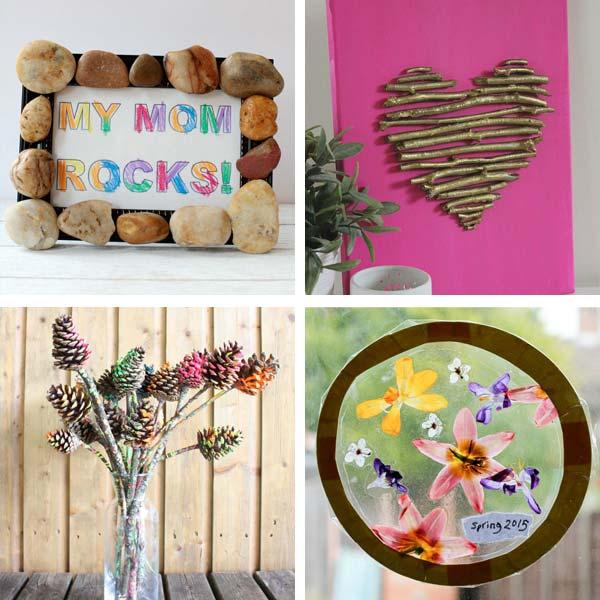 my mom rocks, twig heart, pine cone flowers
