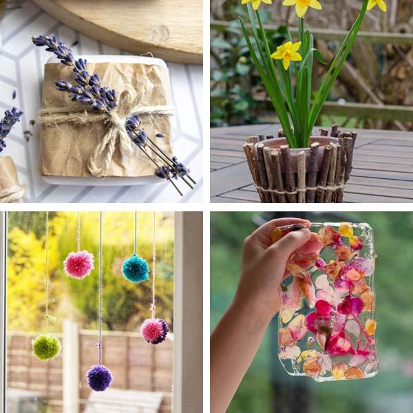 lavender soap, twig pot, dried flower sun catcher