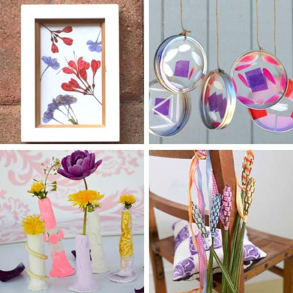 dandelion vases, lavender wands, flower sun catcher windchimes